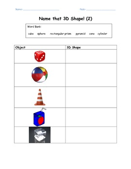 3D Shape Attributes Classwork (Math Common Core aligned)