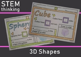 3D Shape Attributes Coloring Drawing Worksheets STEM, STEAM