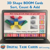 3D Shape BOOM CARDS Kindergarten – Sort, count and add (up