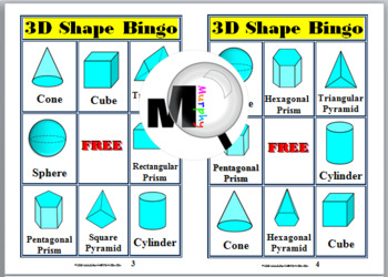 3D Shapes Bingo Game
