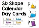 3D Shape Calendar Day Cards