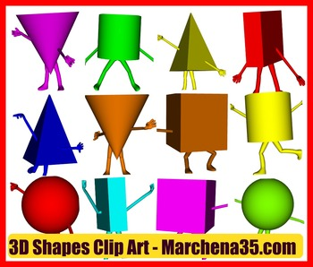 3D Shape Character Clip Art  Images - Commercial Use OK