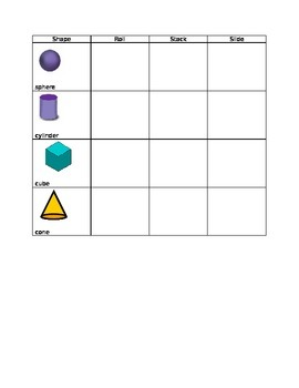 3D Shape Checklist for K and 1st