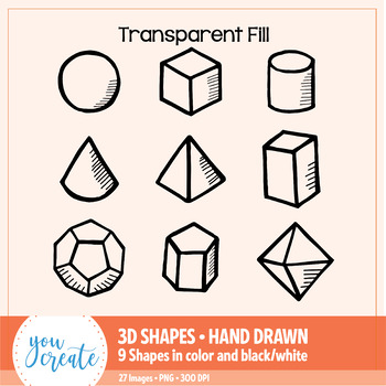 3D Shapes Clip Art • Hand Drawn | Color and Black and White