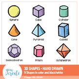 3D Shapes Clip Art • Hand Drawn   Color and Black and White