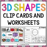 3D Shape Clip Cards and 3D Shape Worksheets