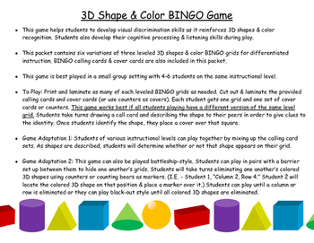 3D Shape & Color Bingo Game (3-Tiers for Differentiated Instruction)