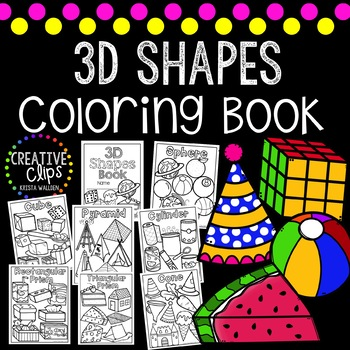 3D Shape Coloring Book {Made by Creative Clips Clipart} | TpT