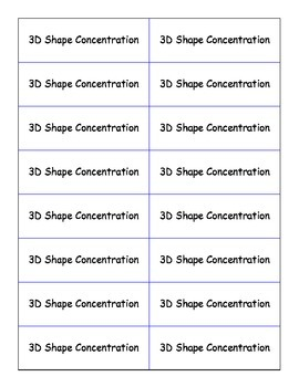3D Shape Concentration
