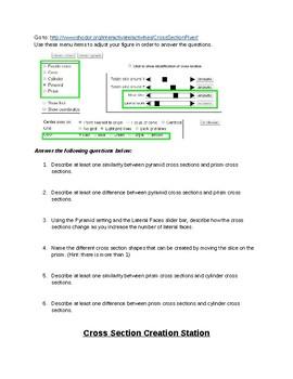 3D Shape Cross Section Lab