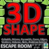 3D Shape: ESCAPE ROOM-10 Challenges, Nets, Volume, Properties, Names, Print & Go