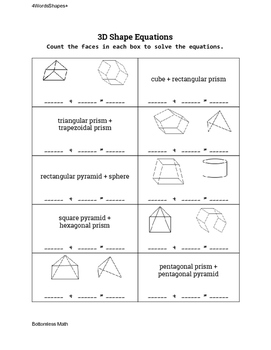 3D Shape Equations: Shapes and Shape Names 0-8 Faces