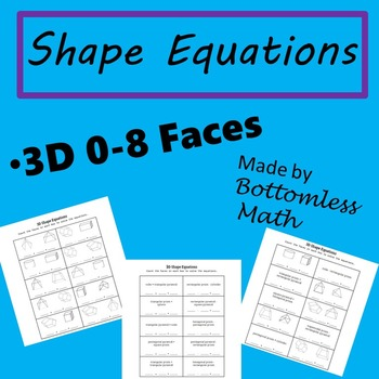 3D Shape Equations: Shapes and Shape Names 0-8 Faces PACK