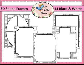 Borders Borders - 3D Shape Frames Black & White (Commercial Use)
