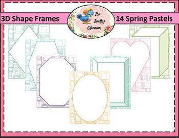 Borders Borders - 3D Shape Frames in Spring Pastels (Commercial Use)