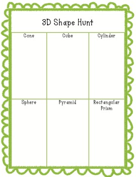 3D Shape Hunt Worksheet