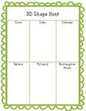 3D Shape Hunt Worksheet
