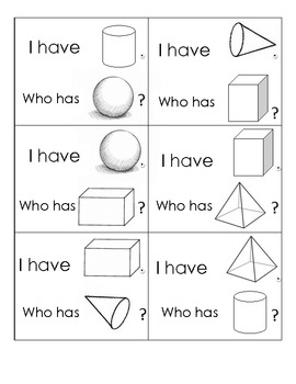 "3D Shape ""I Have, Who Has?"" Game Cards"