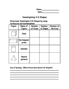 3D Shape Investigation Recording Sheet