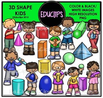 3D Shape Kids Clip Art Bundle {Educlips Clipart}