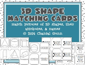 3D Shape Matching Cards {Pictures, Attributes, & Name of Shape}