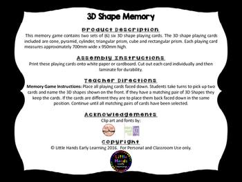 3D Shape Memory Card Game