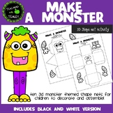 3D Shape Net Halloween Math Activity - Make a Monster