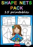 Shape Nets (3D) - 15 printable net templates (Maths - Geometry)