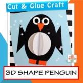 3D Shape Penguin - Winter Craft - January Activities