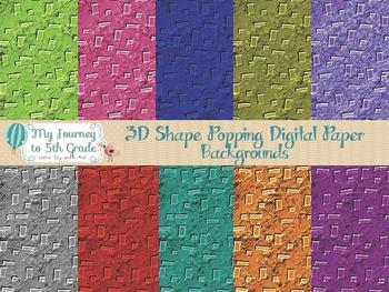 3D Shape Popping Digital Paper Backgrounds