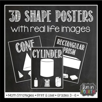 3D Shape (Solid) Posters Chalkboard Themed