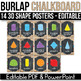 3D Shape Posters EDITABLE, Buralp and Chalkboard Classroom Decor