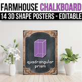 3D Shape Posters EDITABLE, Farmhouse Chalkboard Classroom Decor