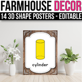 3D Shape Posters EDITABLE, Farmhouse Classroom Decor
