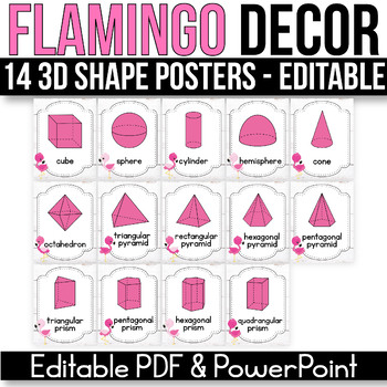 3D Shape Posters EDITABLE, Flamingo Classroom Decor, Flamingo Classroom Theme