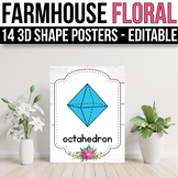 3D Shape Posters EDITABLE, Floral Classroom Decor, Floral Classroom Theme