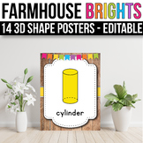 3D Shape Posters EDITABLE, Modern Farmhouse Classroom Decor