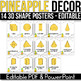 3D Shape Posters EDITABLE, Pineapple Classroom Decor, Pineapple Classroom Theme