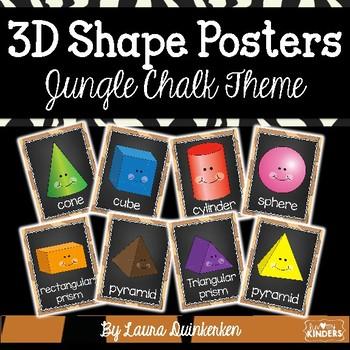 3D Shape Posters Jungle Chalk Theme