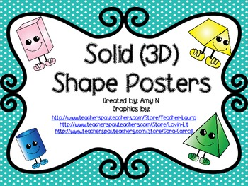 Solid (3D) Shape Posters (Turquoise Polka Dot)