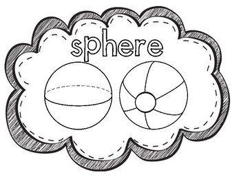3D Shape Posters for Kindergarten-Black and White