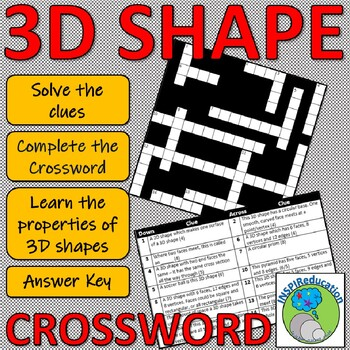 3D Shape Properties - Crossword: Solve the questions and complete the grid