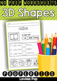 3D Shape Properties No Prep Worksheets