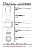 3D Shape & Property Worksheets