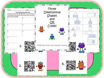 3D Shape QR Code Task Card Center