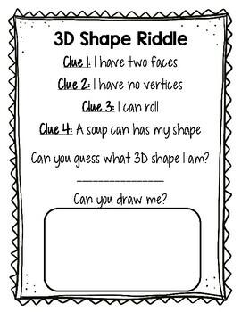 3D Shape Riddles Grade 2 - 3