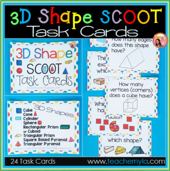 3D Shape Scoot Task Cards