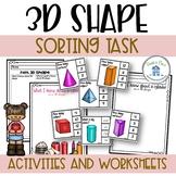 3D Shape Sort Assessment Activities