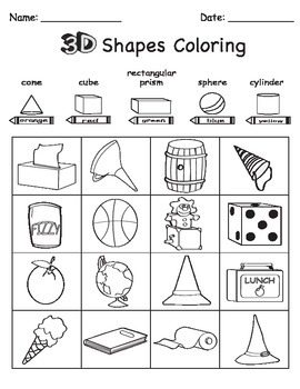 3D Shape Sort Color Draw by Chikabee | Teachers Pay Teachers
