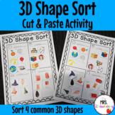 3D Shape Sort: Cut and Paste Activity